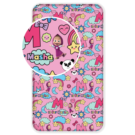 """Masha and The Bear """"Rainbow"""" fitted sheet image 1"""