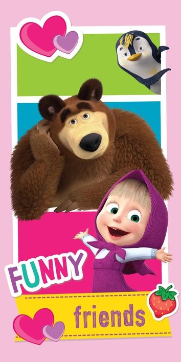 "Masha and The Bear ""Friends"" beach towel image 1"